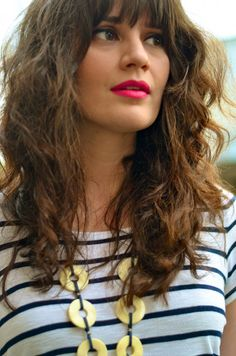 Curly hair with bangs and a bright lip {Lindsay Living}