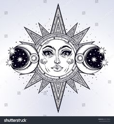 Vintage hand drawn sun, two moon, night sky. Vector for coloring book, t-shirts design, tattoo, art. Sacred Geometry, Magic, Esoteric Philosophies. Vector illustration for commercial and personal use.
