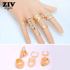 6Pcs/set Gold Plated Adjustable Hollow Knuckle Midi Ring For Women Fine Jewelry Bague Femme Punk Anillos