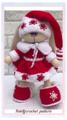 KNITTING PATTERN outfit CHRISTMAS for bunny \ Bunny outfit pattern \ Clothes for doll \ Mixed pattern #knittingpattern #dollcostume #knittingpattern Crochet Toys Patterns, Amigurumi Patterns, Stuffed Toys Patterns, Doll Patterns, Knitting Patterns, Amigurumi Toys, Crochet Ideas, Knitting Projects, Craft Projects