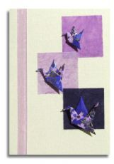 Handmade greetings card: 3 cranes on purple summer squares on Japanese washi paper  Washi paper cards - re-Pinned by HankoDesigns.Com