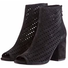 Ash Black Flash Bootie (400 CAD) ❤ liked on Polyvore featuring shoes, boots, ankle booties, leather peep toe booties, black leather bootie, peep toe booties, leather booties and black booties