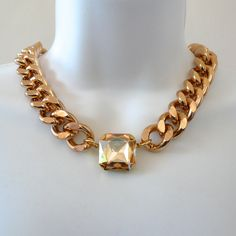 Chunky Rose Gold Necklace with Square Crystal by oiajules on Etsy, $40.00