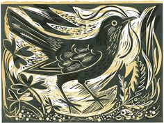 Beautiful blackbird woodcut. I think the idea of woodcut could translate to a tattoo well.