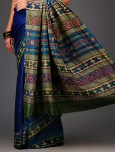 Geecha silk saree with kantha embroidered pallu Indian Dresses, Indian Outfits, Indian Clothes, Indian Sarees, Silk Sarees, Beautiful Saree, Saree Collection, Electric Blue, Traditional Outfits