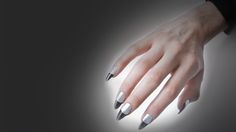 Stiletto Nails #Silver #Black
