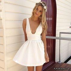 Фото летних белых коротких платьев