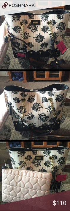 """NEW! BETSEY JOHNSON FLORAL TOTE W/POUCH BRAND NEW! AUTHENTIC BETSEY JOHNSON FLORAL TOTE W/POUCH-LOTS OF ROOM-Approximate Measurements-12"""" X 15"""" X 6 1/2""""...NEVER USED! EXCELLENT NEW CONDITION!! Betsey Johnson Bags Totes"""