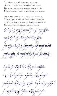 elvish poem all that is gold - Google Search