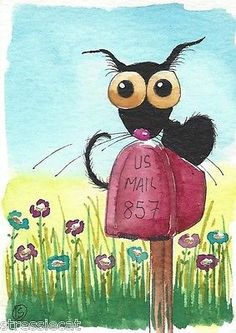 ACEO Original Watercolor Folk Art Illustration Painting Black Cat Red Mail Box | eBay