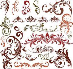 Disegno floreale elementi vettoriali Set