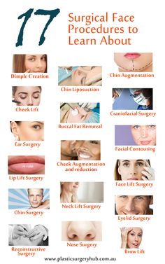 There are Seventeen (17) Surgical Face Procedures to Learn About:  #DimpleCreation #ChinLiposuction #ChinAugmentation #CheekLift #BuccalFatRemoval #CranofacialSurgery #EarSurgery #CheekAugmentationAndReduction #BuccalFatRemoval #FacialContouring #LipLiftSurgery #ChinSurgery #NeckLiftSurgery #EyeLidSurgery #ReconstructiveSurgery #NoseSurgery #BrowLift http://www.plasticsurgeryhub.com.au/surgical-procedures/