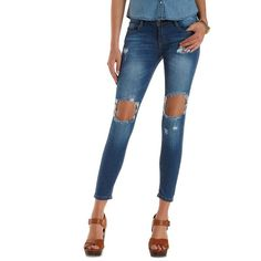 Charlotte Russe Med Wash Denim Destroyed Denim Skinny Jeans by... ($37) ❤ liked on Polyvore