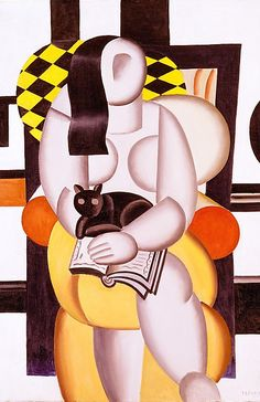 Fernand Léger : Woman With A Cat, 1921 (oil on canvas).