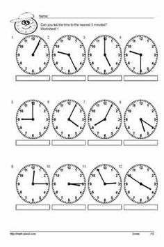 Teach Your Kids to Tell Time to the Nearest 5 With These Handy Worksheets: Worksheet # 1