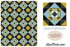 Patchworkové pravítko Letící Husy & Půlené čtverce #halfsquare #wingclipper #vzory #patchwork #pattern #tutorial #video