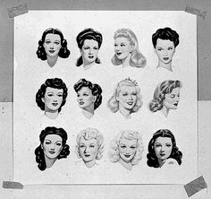 Hairstyles of the early 1940s. Vintage hair, up-do, half up, victory rolls, bangs, | http://hair-styles-collections.blogspot.com
