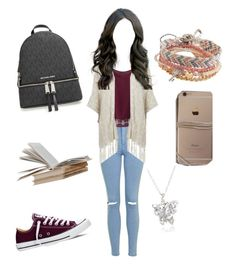 """""""Untitled #208"""" by vgrenalde ❤ liked on Polyvore featuring Topshop, WithChic, ONLY, MICHAEL Michael Kors, Converse and Aéropostale"""