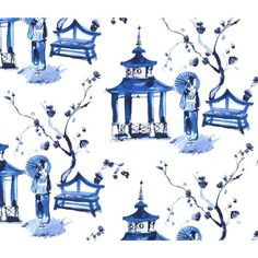 Asian Print Canvas Fabric - Pagoda Garden from the Blue & White Collection for Michael Miller WS 6336 Blue D - 1/2 yard