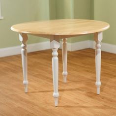 Round Drop-Leaf Dining Table, White/Natural