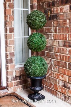 The Easiest DIY Topiary Trees on a Budget (Topiary Decorating Ideas) - DIY Outdoor Topiary – I saved SO much money doing this! How to Make Topiary Trees – This easy - Boxwood Planters, Boxwood Topiary, Topiary Trees, Topiary Decor, Boxwood Tree, Topiary Centerpieces, Christmas Centerpieces, Planter Pots, Porch Topiary