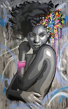 Sophia Painting by Wojtek Bąbski African Artwork, Abstract Faces, Abstract Art, Diy Canvas Art, Woman Painting, Mixed Media Art, Art Inspo, Saatchi Art, Street Art