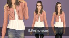 simplr-sims:  i love this jacket. did not love the ruffles. certainly did not love that it came as an outfit. that is all. (i'm grumpy and sick ok. lol) Enabled for Female YA-A All morphs supported (fat/fit/thin) 3 recolorable channels Base game compatible Maternity enabled! get it here or here