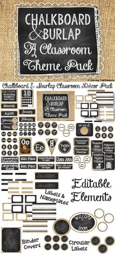Everything you need to make a cute Chalkboard and Burlap theme classroom!