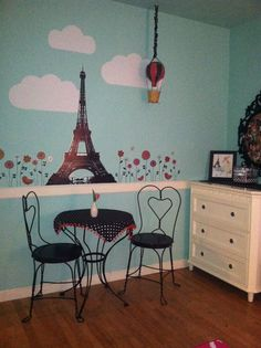 french inspired girls bedroom in gray and red | Decorating theme ...