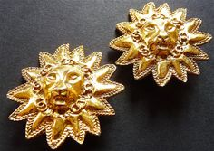 Chanel Collectible Clip On Earrings Lion's by VintageParisLuxe