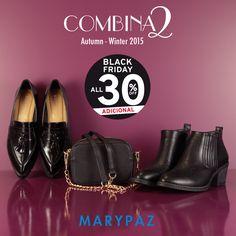 ►►► Disfruta de hasta el 30% dto. en artículos seleccionados y además AHORA tienes un 30% dto. adicional que se aplicará automáticamente en el momento de la compra para celebrar el BLACK FRIDAY en tiendas y online!!  COMBINA2: 1 bolso xa 2 zapatos <3  ¿ Cuál sería tu outfit favorito ?  #blackfriday2015 #blackfridayMARYPAZ   Online Store http://www.marypaz.com/tienda-online/index.php