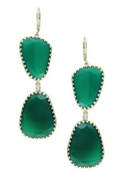 HauteLook | Earrings: 14K Yellow Gold Diamond Accent & Freeform Green Onyx Double Drop Earrings