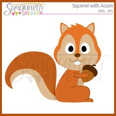 Squirrel with acron clipart