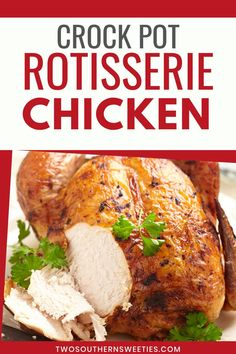 This Crock Pot Chicken tastes like those delicious rotisserie chickens you can purchase cooked in the grocery store. So Simple So Inexpensive So Delicious Slow Cooker Recipes, Crockpot Recipes, Diet Recipes, Slow Cooker Chicken Whole, Healthy Chicken Recipes, Delicious Recipes, One Pot Dinners, Fish Dinner, Rotisserie Chicken