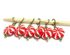 Knitting stitch markers Christmas peppermint candies set of six on Etsy, $14.00