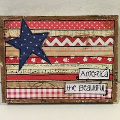 Patriotic, flag painting, mixed media flag, america the beautiful, flag art 4th July Crafts, Fourth Of July Decor, 4th Of July Decorations, July 4th, Birthday Decorations, Americana Crafts, Patriotic Crafts, Rustic Americana Decor, Patriotic Wreath