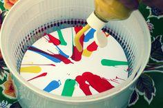 a bit of sunshine: make something monday :: salad spinner spin art