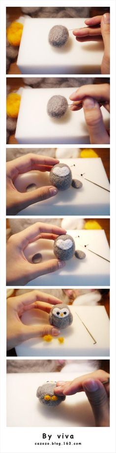 DIY Owl Really cute felting project with great pictures to guide the way. - gotta make this little puff ball owl for tifferz maybe few of them she would love them aww Owl Crafts, Cute Crafts, Kids Crafts, Easy Crafts, Easy Diy, Needle Felted Owl, Needle Felting Tutorials, Felt Birds, Felt Owls