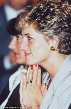 Diana flashes her elegant red manicure launching the Child Bereavement Trust at the Royal ...