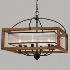 Square Wood Frame and Sheer Chandelier - Large Kind of interesting modern/rustic vibe--wood work with mid-century modern $530