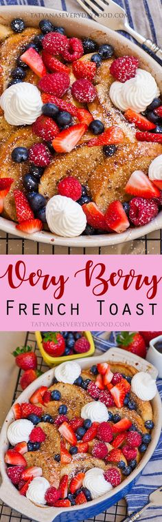 Baked Berry French Toast Recipe (video) - Tatyanas Everyday Food - Recipes to Cook - Breakfast Dessert, Breakfast Time, Breakfast Recipes, Nutella French Toast, French Toast Bake, Tatyana's Everyday Food, Food Videos, The Best, Brunch