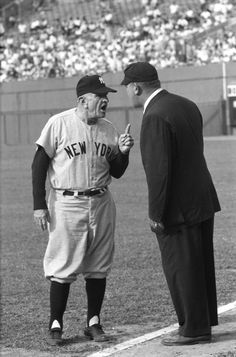 New York Yankees manager Casey Stengel argues with the umpire during a game versus the Baltimore Orioles at Memorial Stadium. New York Yankees Baseball, Baseball Mom Shirts, Ny Yankees, Sports Baseball, Baseball Players, Damn Yankees, Football, Baseball Girlfriend, Mlb Players