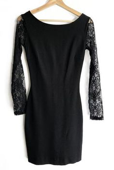 04c723fd This super sexy little black dress from the Zara Trafaluc collection  features lace full length sleeves