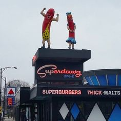 """Superdawg Drive-In Restaurant • 6363 N. Milwaukee, Norwood Park • """"Best hot dog and fries anywhere, served in a box. Car hop service by the best hops ever. The place is living history."""" • https://www.buzzfeed.com/annakopsky/best-hidden-gems-in-chicago?utm_term=.rxZKAKo7V"""