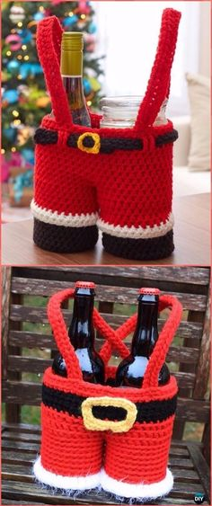 Crochet Santa Pants Gift Basket Free Pattern - Crochet Wine Bottle Cozy Bag & Sack Free Patterns