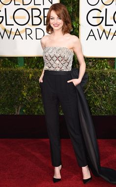 All hail Emma Stone, crowned the best dressed celebrity of 2015! Here she is at the Golden Globes.