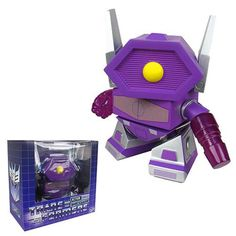 This is a Transformers Shockwave Vinyl Figure that is produced by The Loyal Subjects. The Shockwave vinyl figure is roughly 8 inches tall and comes equipped with a translucent arm cannon and the trans