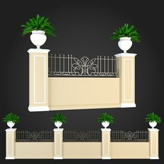 Fence 016 by ThemeREX High quality polygonal model of fence.max Max 2010 for separate models .max Max 2010 for the scene, wh Fence Wall Design, Front Wall Design, House Gate Design, Door Gate Design, Concrete Fence Wall, Brick Fence, Boundry Wall, Round House Plans, Compound Wall Design