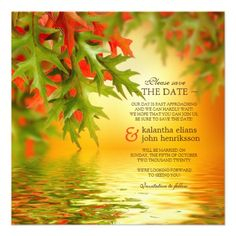 Fall Wedding Save The Date Invitation Autumn Leave #Wedding #SaveTheDate #Fall #Autumn