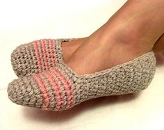 grey crochet slippers, woman house slippers, crochet shoes, home clothing, friend gift, size 5 6 7 8 9 10 11 12